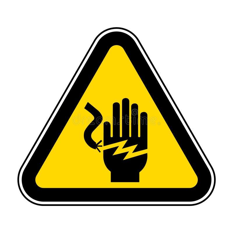 Segno di simbolo di folgorazione di scossa elettrica, illustrazione di vettore, isolato sull'etichetta bianca del fondo EPS10 fotografia stock