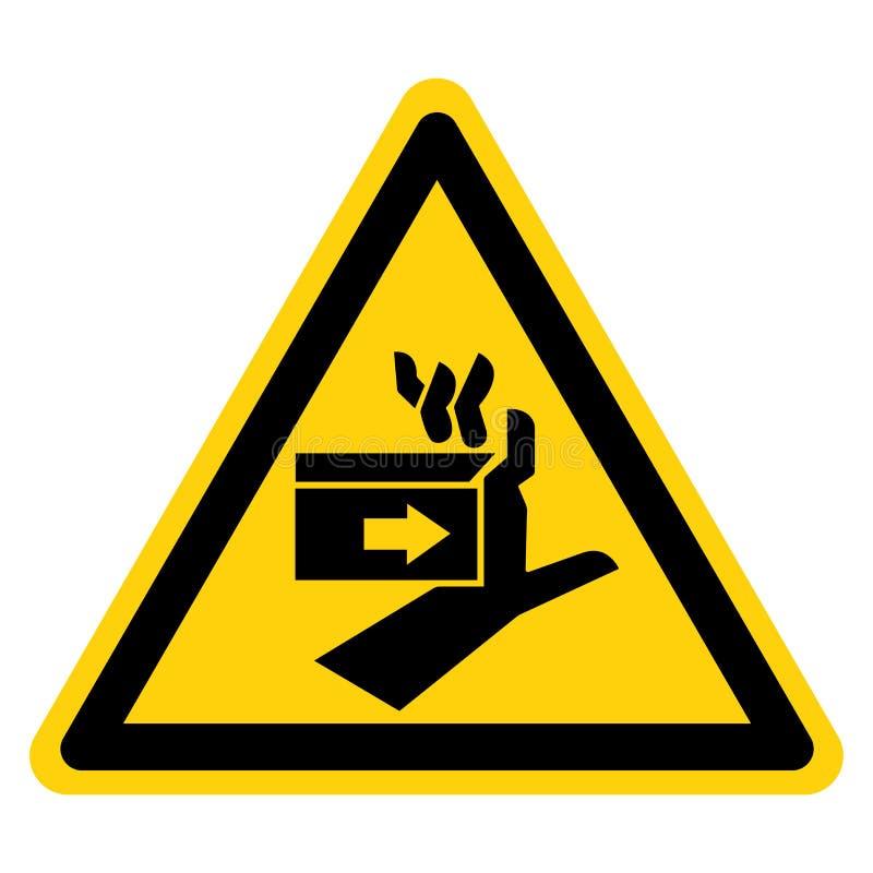 Segno di simbolo di sinistra della forza di schiacciamento della mano, illustrazione di vettore, isolato sull'etichetta bianca de illustrazione vettoriale