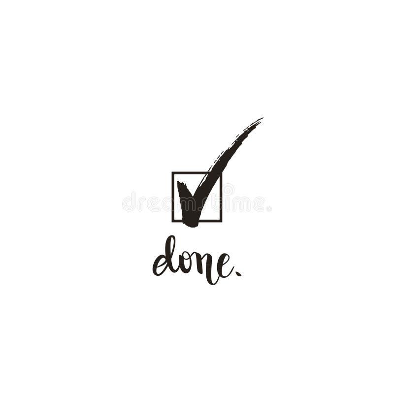 Segno di spunta e fatto del segno di spunta il simbolo della scatola e calligrafia, illustrazione di vettore illustrazione di stock