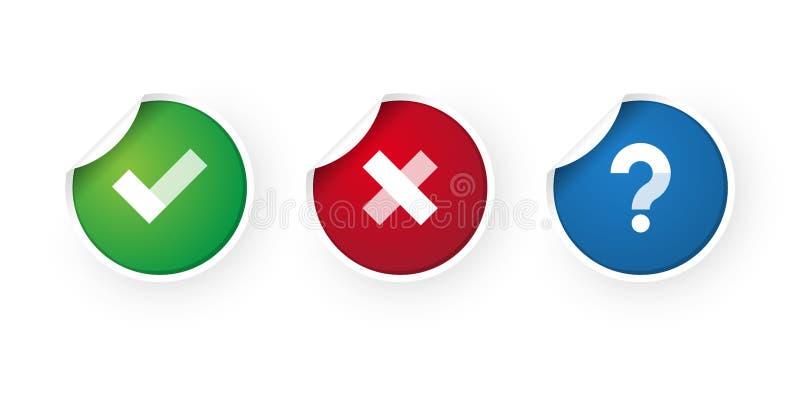 Segno di spunta ed icona degli autoadesivi dell'annullamento illustrazione vettoriale