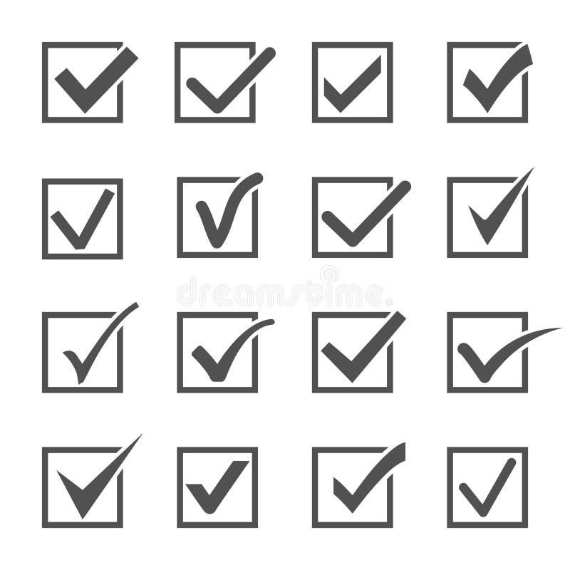 Segno di spunta ed icone dei segni di spunta illustrazione di stock