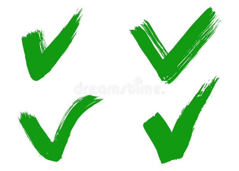 Segno di spunta o segno di spunta disegnato a mano illustrazione vettoriale