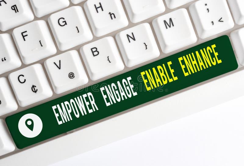 Segno di testo che mostra l'attivazione di Empower Engage Enable Enhancer Foto concettuale Empowerment Leadership Motivazione Eng immagine stock libera da diritti