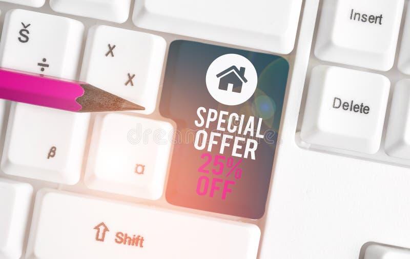 Segno di testo con offerta speciale 25% disattivata Foto concettuali sconti promozionali Vendite Retail Marketing Offerta Bianca fotografie stock