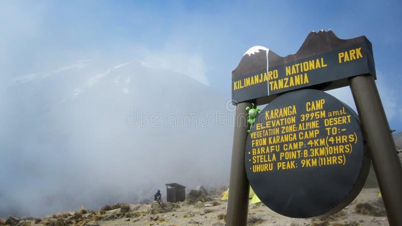 Segno di un campo sulla montagna di Kilimanjaro fotografie stock libere da diritti