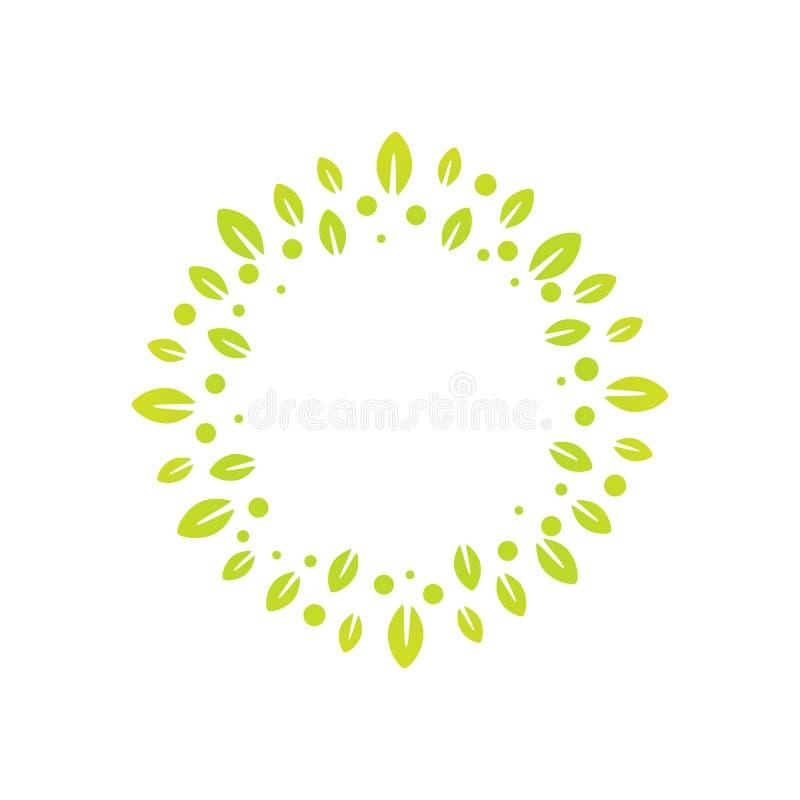 Segno di una corona fatta dalle foglie, per la decorazione o come componente di illustrazione vettoriale