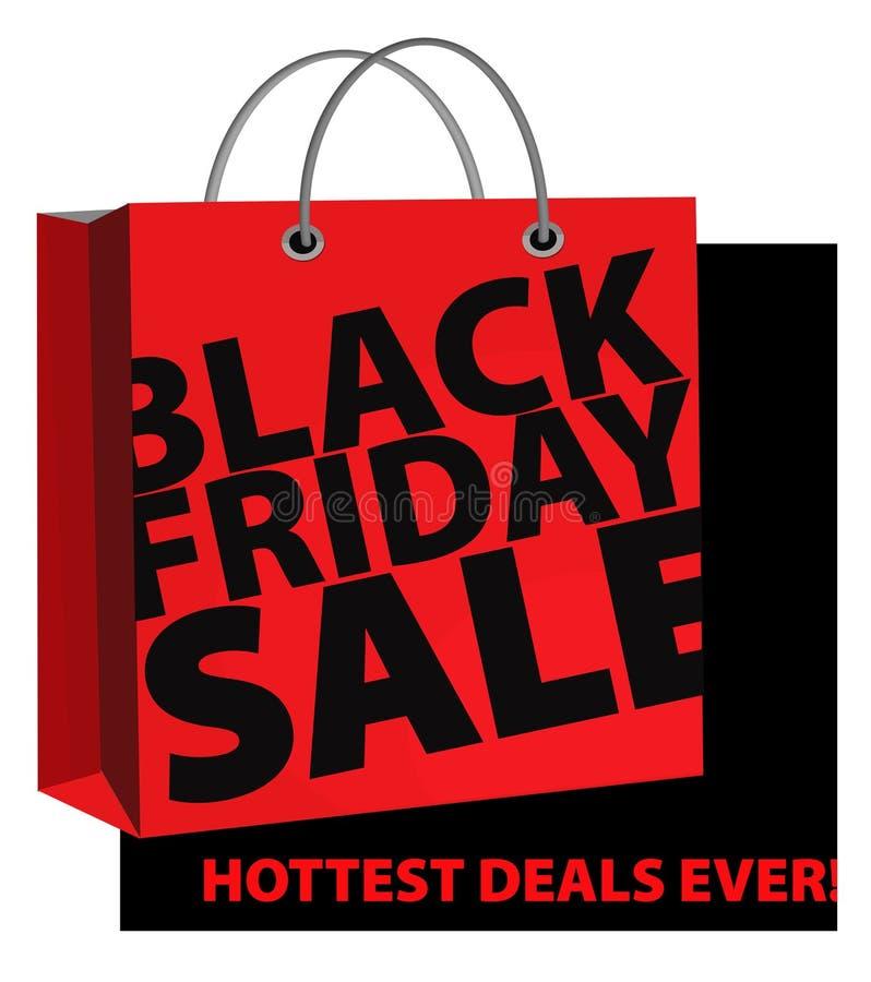 Segno di vendita di Black Friday con il sacchetto della spesa royalty illustrazione gratis