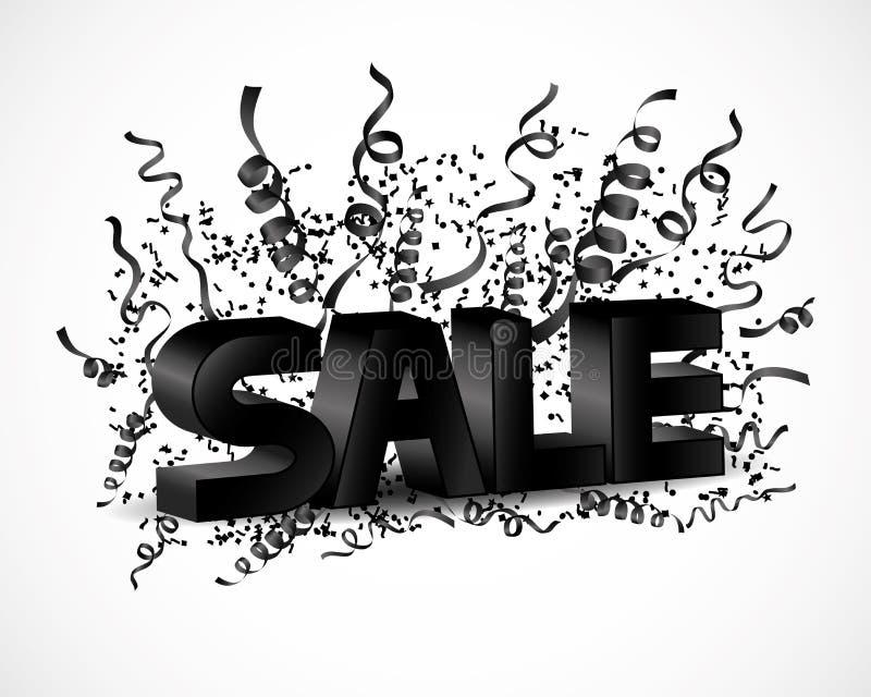 Segno di vendita con i nastri illustrazione di stock