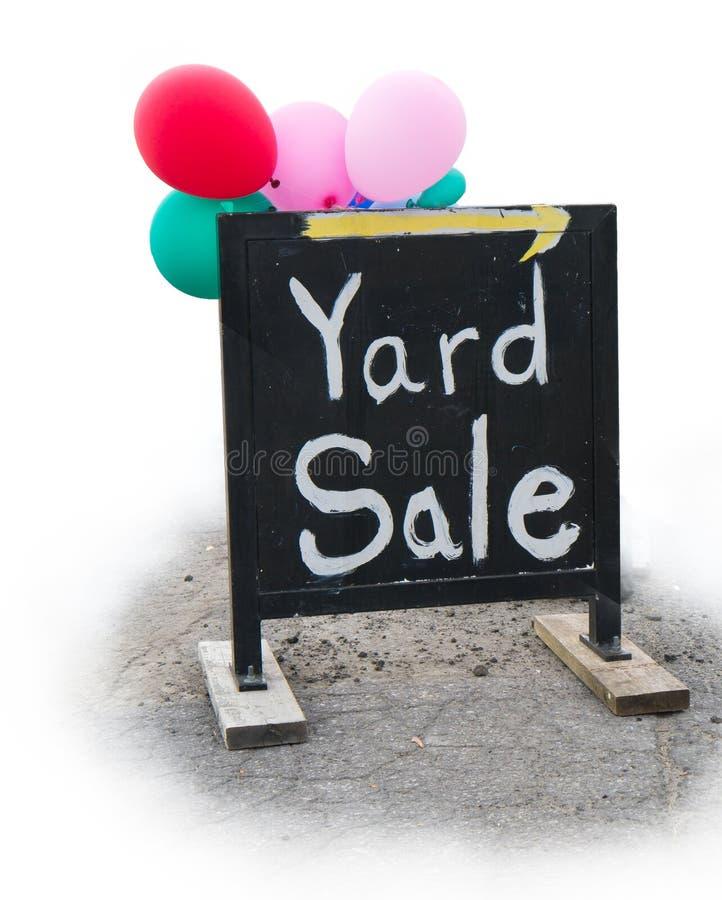Segno di vendita di garage di vendita di iarda immagini stock libere da diritti