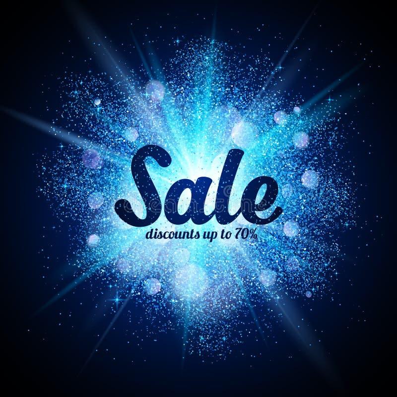 Segno di vendita sulla spruzzata cosmica di scintillio blu a buio illustrazione di stock