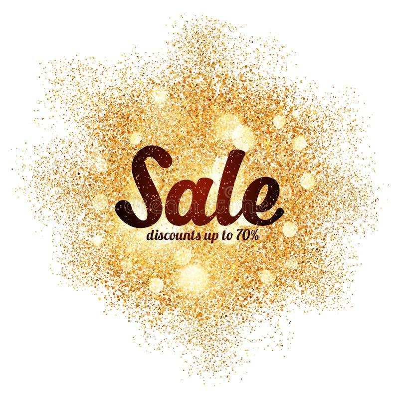 Segno di vendita sulla spruzzata dorata di scintillio a bianco royalty illustrazione gratis