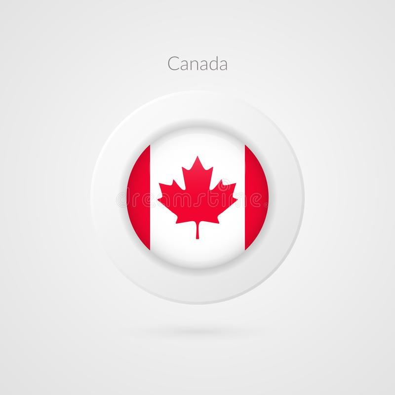 Segno di vettore della bandiera del Canada Simbolo canadese isolato del cerchio Icona nordamericana dell'illustrazione Foglia di  illustrazione di stock