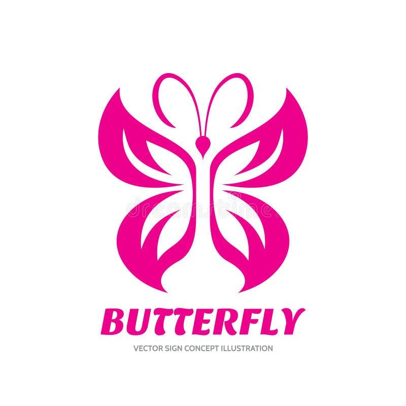 Segno di vettore della farfalla - illustrazione di concetto del modello di logo nella progettazione grafica di stile Arte decorat illustrazione di stock