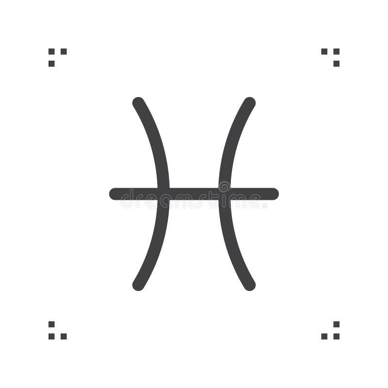 Segno di vettore dello zodiaco di pesci, simbolo dell'oroscopo, linea icona di astrologia illustrazione di stock
