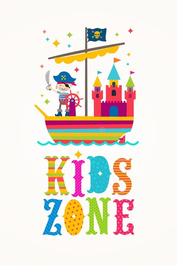 Segno di vettore di zona dei bambini con personaggio dei cartoni animati illustrazione vettoriale