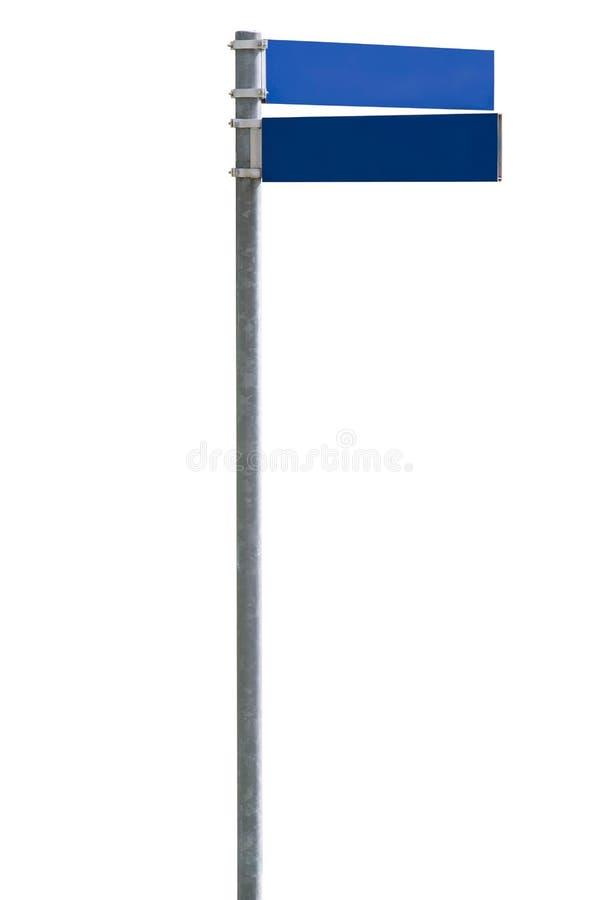 Segno di via in bianco blu immagine stock