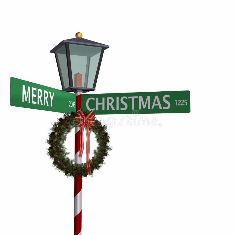 Segno di via di Buon Natale 3 illustrazione di stock