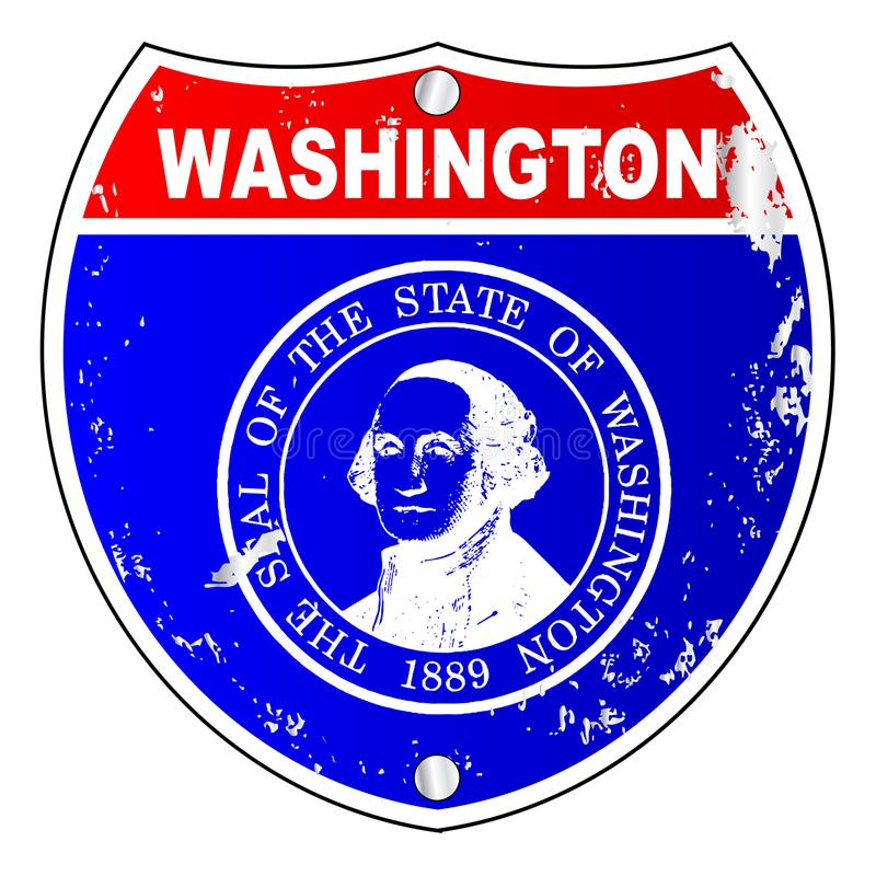 Segno di Washington Flag Icons As Interstate illustrazione di stock