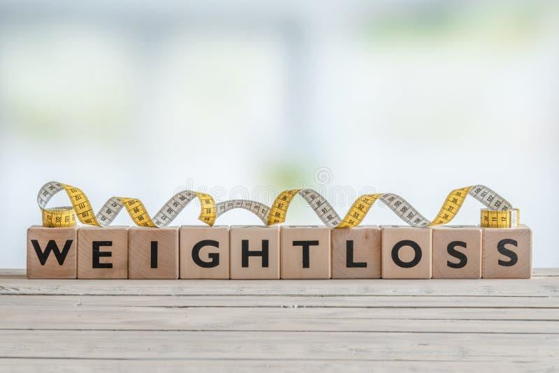 Segno di Weightloss con nastro adesivo di misura fotografia stock libera da diritti