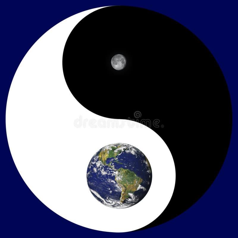 Segno di Yin Yang con terra/luna illustrazione di stock