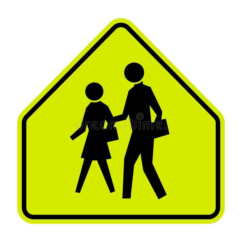 Segno di zona della scuola su fondo bianco immagini stock libere da diritti