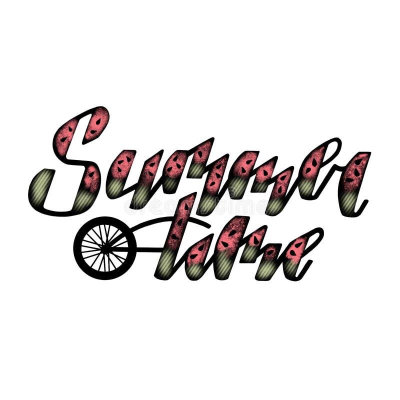 Segno disegnato a mano di ora legale, tipografia che segna manifesto con lettere, con il simbolo di estate illustrazione di stock