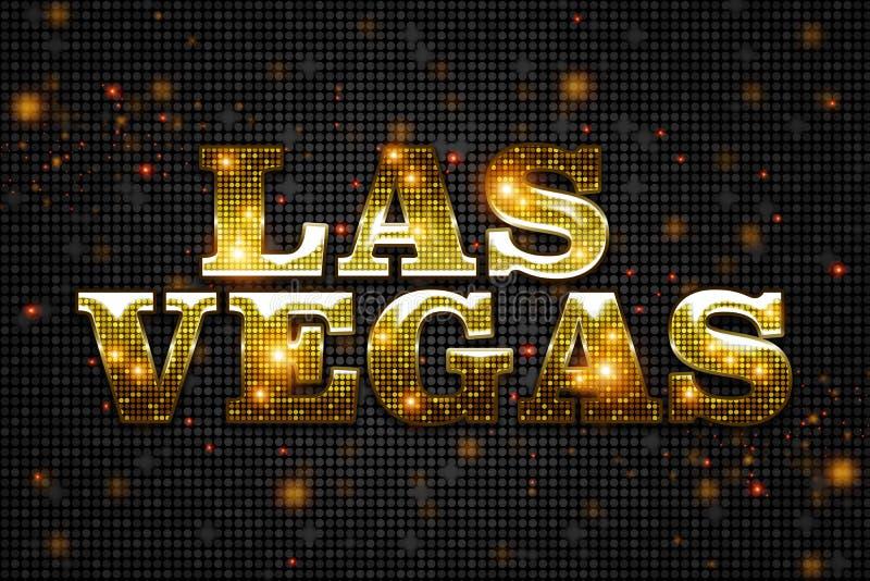 Segno dorato brillante di Las Vegas fotografia stock libera da diritti