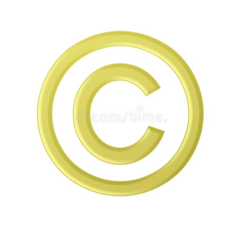 Segno dorato del copyright illustrazione vettoriale