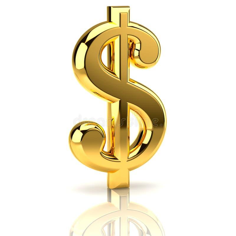 Segno dorato del dollaro su bianco illustrazione vettoriale