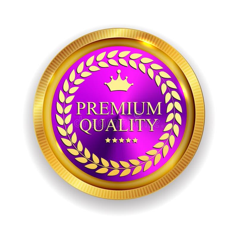 Segno dorato della guarnizione dell'icona della medaglia di qualità premio isolato sulla B bianca illustrazione di stock