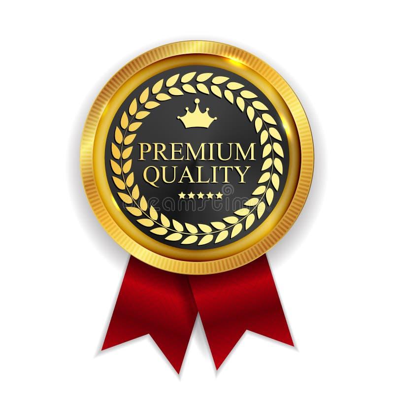 Segno dorato della guarnizione dell'icona della medaglia di qualità premio sulla B bianca illustrazione di stock