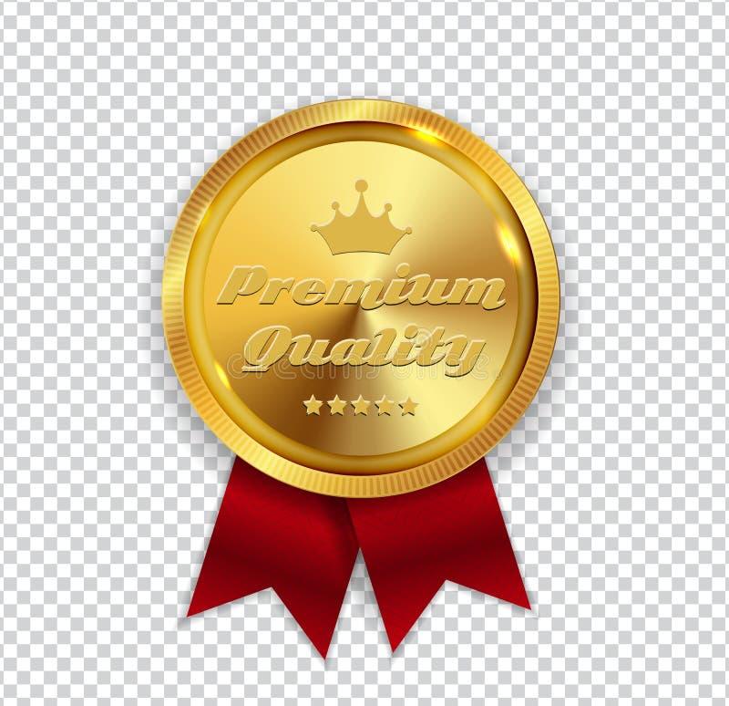 Segno dorato della guarnizione dell'icona della medaglia di qualità premio sulla B bianca illustrazione vettoriale