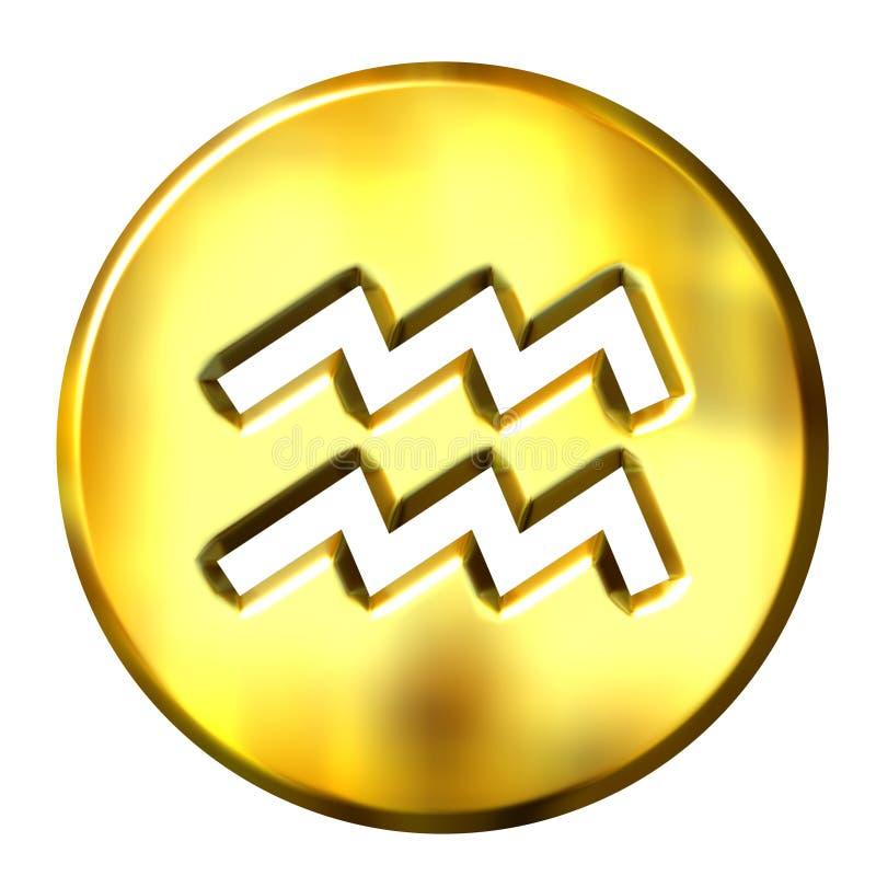 segno dorato dello zodiaco del Aquarius 3D illustrazione di stock