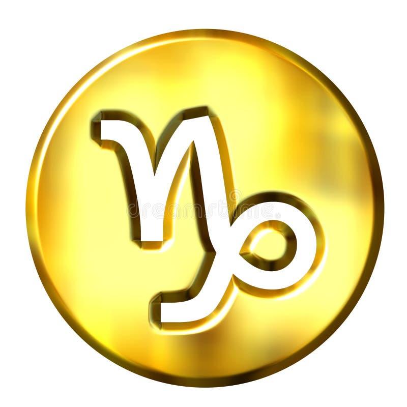 segno dorato dello zodiaco del Capricorn 3D illustrazione di stock