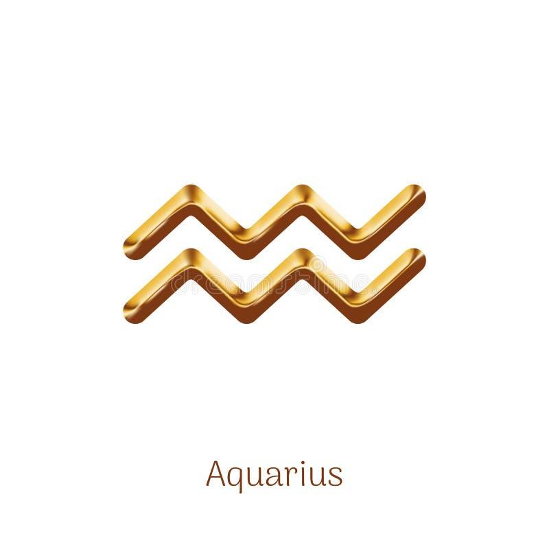 Segno dorato dello zodiaco di acquario isolato su bianco illustrazione vettoriale