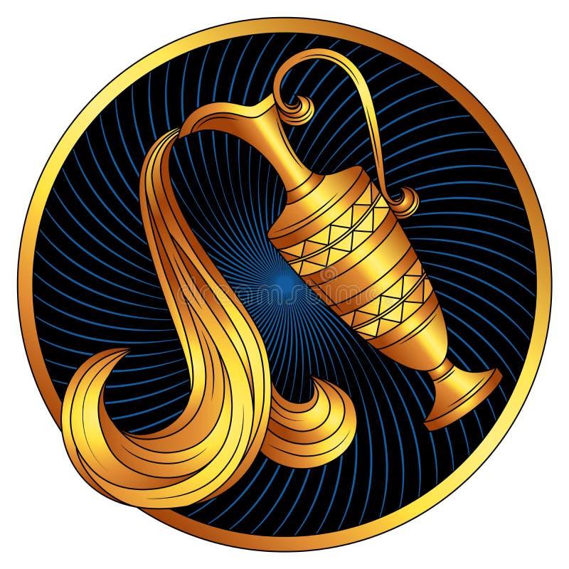 Segno dorato dello zodiaco di acquario, oro di simbolo dell'oroscopo royalty illustrazione gratis