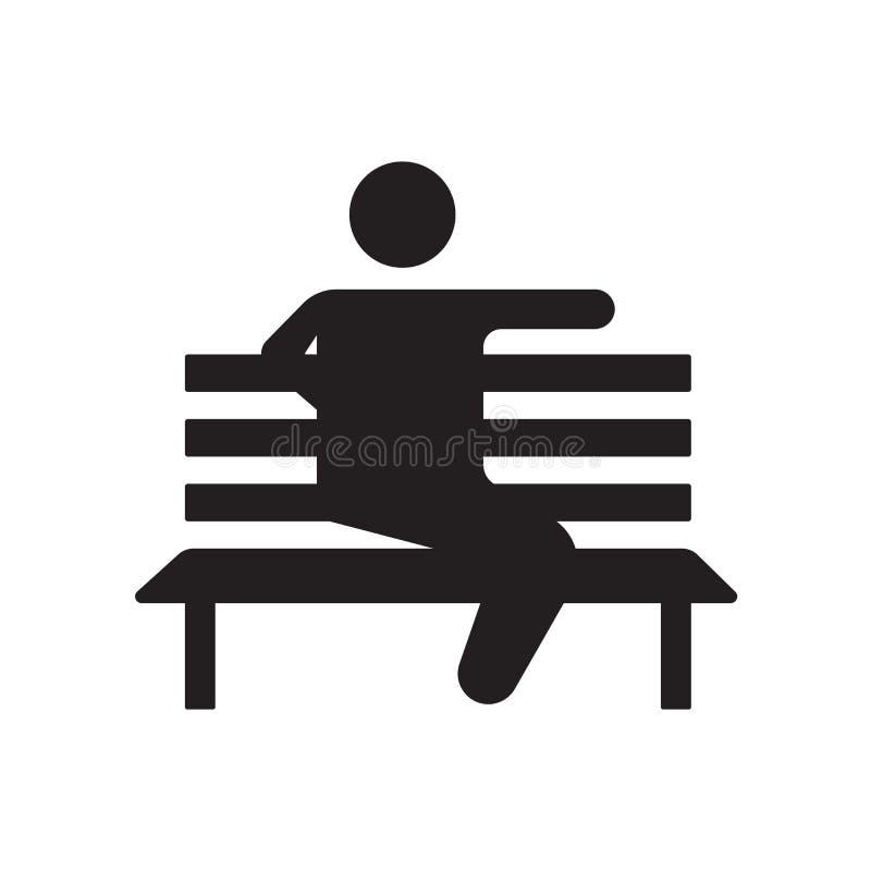 Segno e simbolo di seduta di vettore dell'icona isolati su fondo bianco, concetto di seduta di logo illustrazione di stock