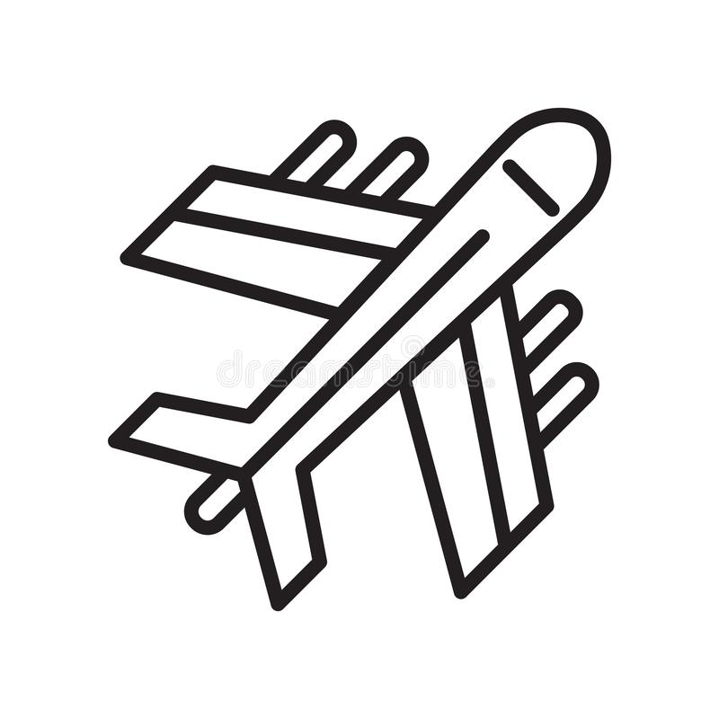 Segno e simbolo di vettore dell'icona dell'aeroplano isolati su fondo bianco, concetto di logo dell'aeroplano illustrazione vettoriale