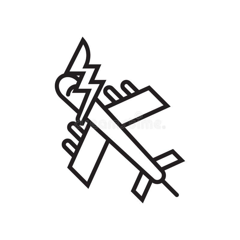 Segno e simbolo di vettore dell'icona dell'aeroplano isolati sul backgrou bianco illustrazione vettoriale