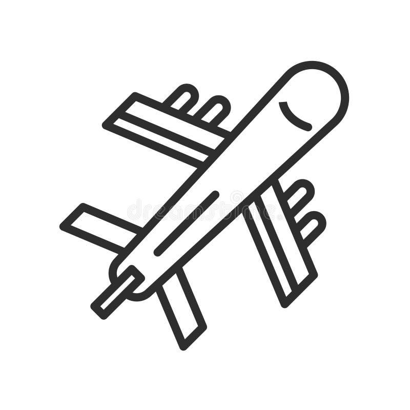Segno e simbolo di vettore dell'icona dell'aeroplano di volo isolati sulle sedere bianche illustrazione di stock