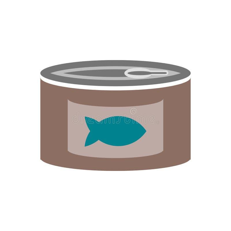 Segno e simbolo di vettore dell'icona dell'alimento inscatolato isolati su fondo bianco, concetto di logo dell'alimento inscatola illustrazione vettoriale