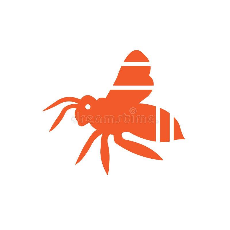 Segno e simbolo di vettore dell'icona dell'ape isolati su fondo bianco illustrazione di stock