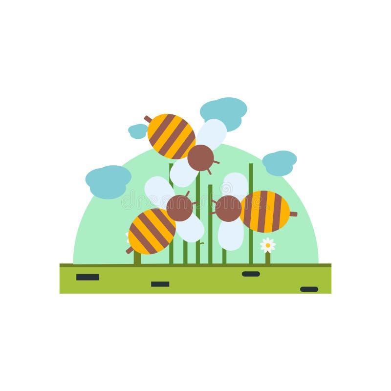 Segno e simbolo di vettore dell'icona dell'ape isolati su fondo bianco, concetto di logo dell'ape illustrazione di stock