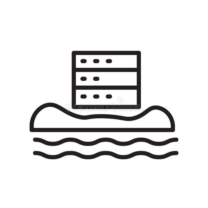 Segno e simbolo di vettore dell'icona di dati isolati su fondo bianco, D illustrazione vettoriale