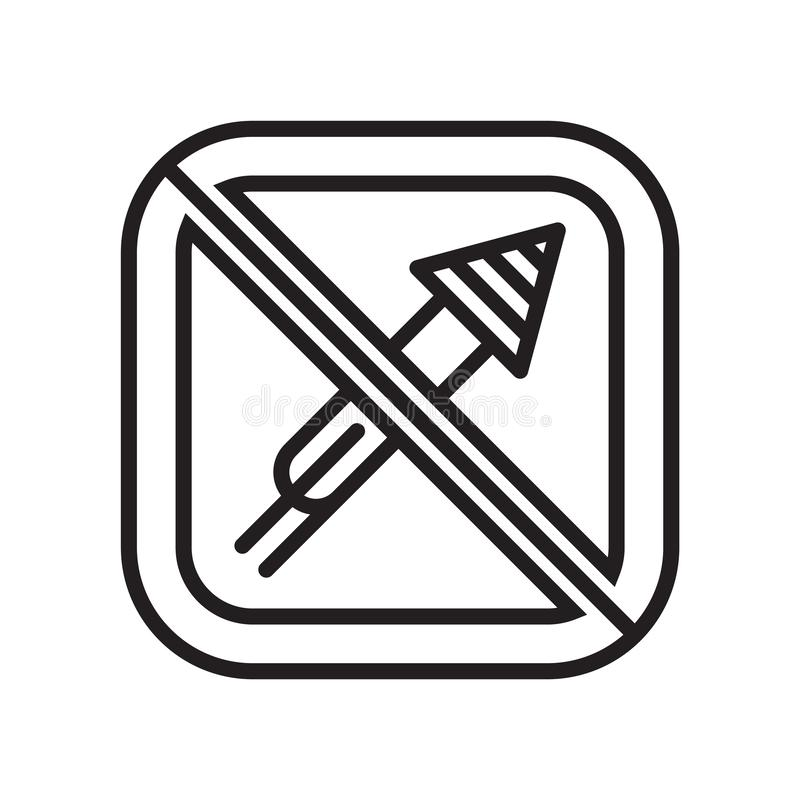 Segno e simbolo di vettore dell'icona dei fuochi d'artificio isolati su fondo bianco, concetto di logo dei fuochi d'artificio illustrazione di stock