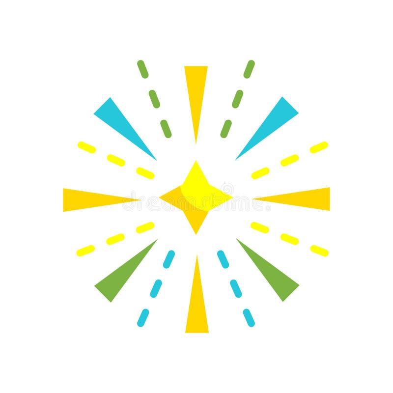 Segno e simbolo di vettore dell'icona dei fuochi d'artificio isolati sul backgrou bianco illustrazione di stock