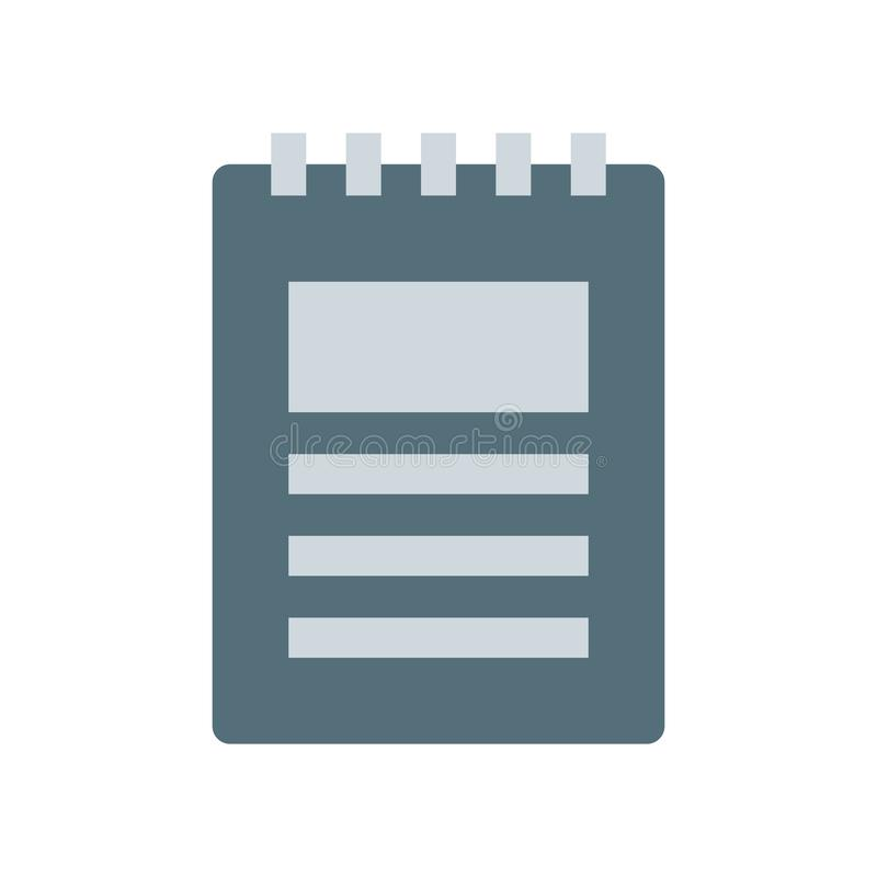 Segno e simbolo di vettore dell'icona del blocco note isolati su fondo bianco, concetto di logo del blocco note illustrazione vettoriale
