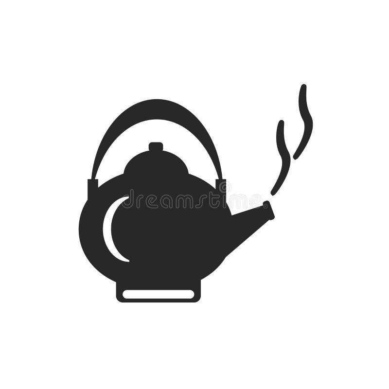 Segno e simbolo di vettore dell'icona del bollitore isolati su fondo bianco, concetto di logo del bollitore illustrazione vettoriale