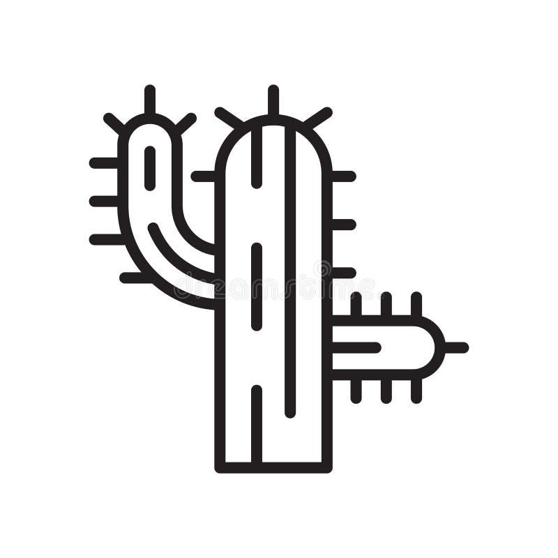 Segno e simbolo di vettore dell'icona del cactus isolati su fondo bianco illustrazione vettoriale