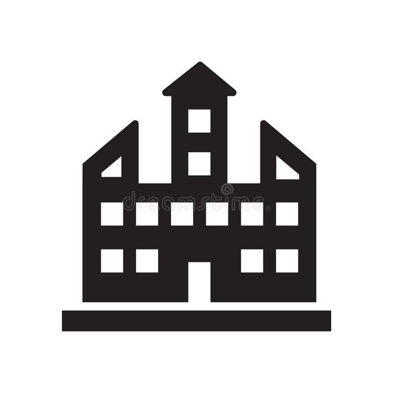 Segno e simbolo di vettore dell'icona del campus universitario isolati su bianco royalty illustrazione gratis